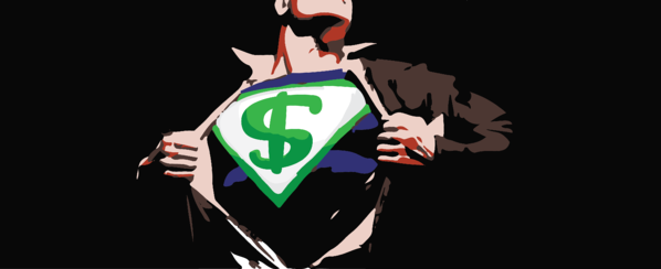 super hero with dollar sign on costume